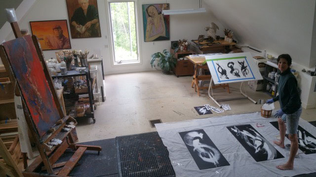 CHANDLER KISSELL AT WORK IN HER STUDIO WITH THREE NEW PIECES